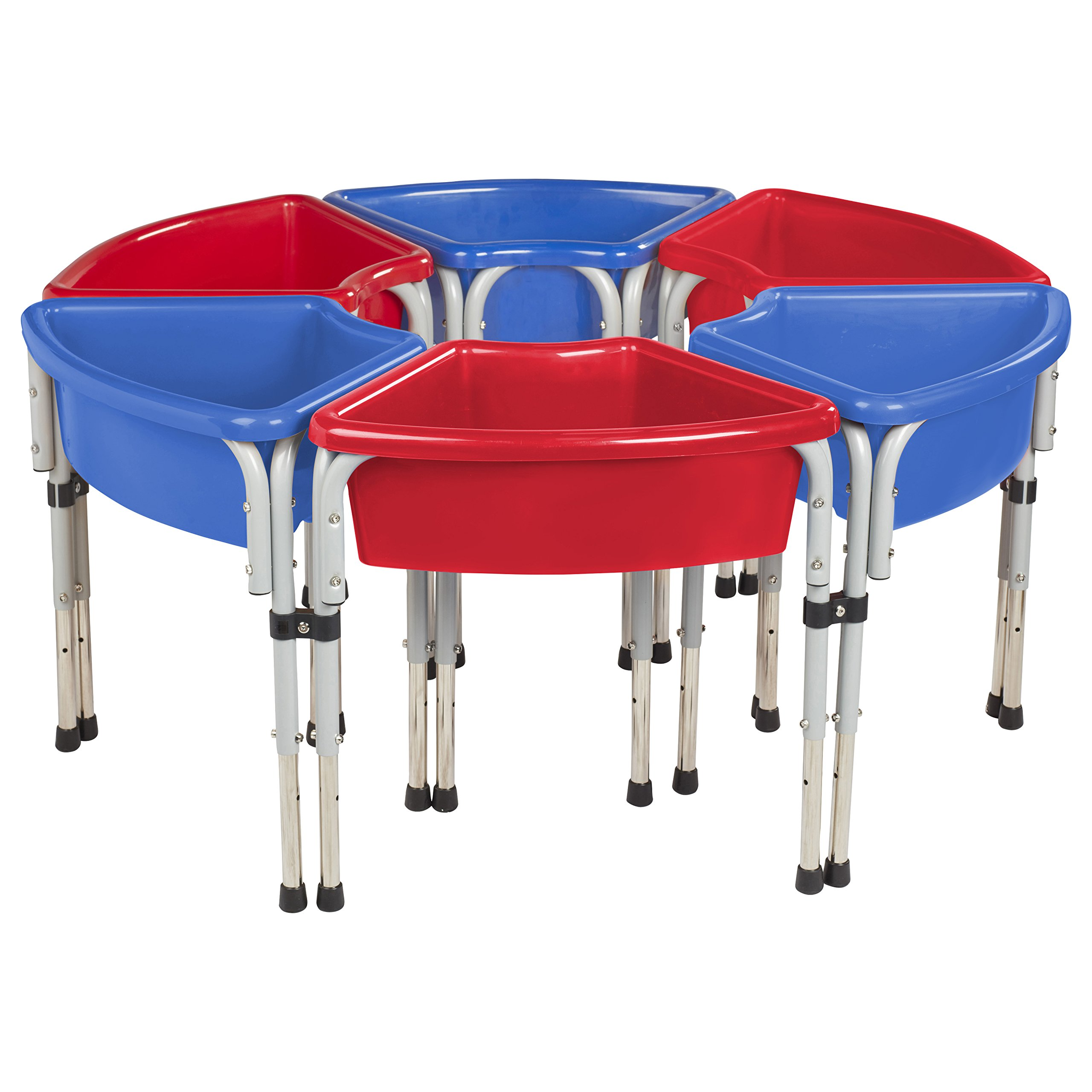 ECR4Kids Assorted Colors Sand and Water Adjustable Activity Play Table Center with Lids, Round (6-Station)