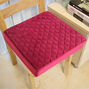COMFORTANZA Chair Seat Cushion - 16x16x3 Inches Pure Memory Foam Soft Square Thick Non-Slip Pads for Kitchen, Dining, Office Chairs and Car Seats - Comfort and Back Pain Relief - Burgundy