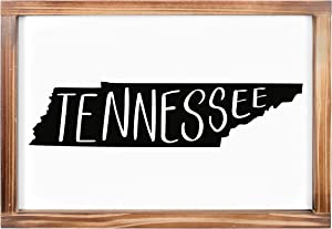 Tennessee Sign - Rustic Farmhouse Decor For The Home - Tennessee State Sign, Modern Farmhouse State Gift, Tennessee Wall Decor, State Souvenir, Rustic Home Decor Sign With Solid Wood Frame 11x16 Inch