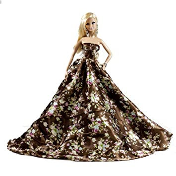 Amazon.com: Brown Floral Silk Ball Gown for Barbie Doll: Toys & Games