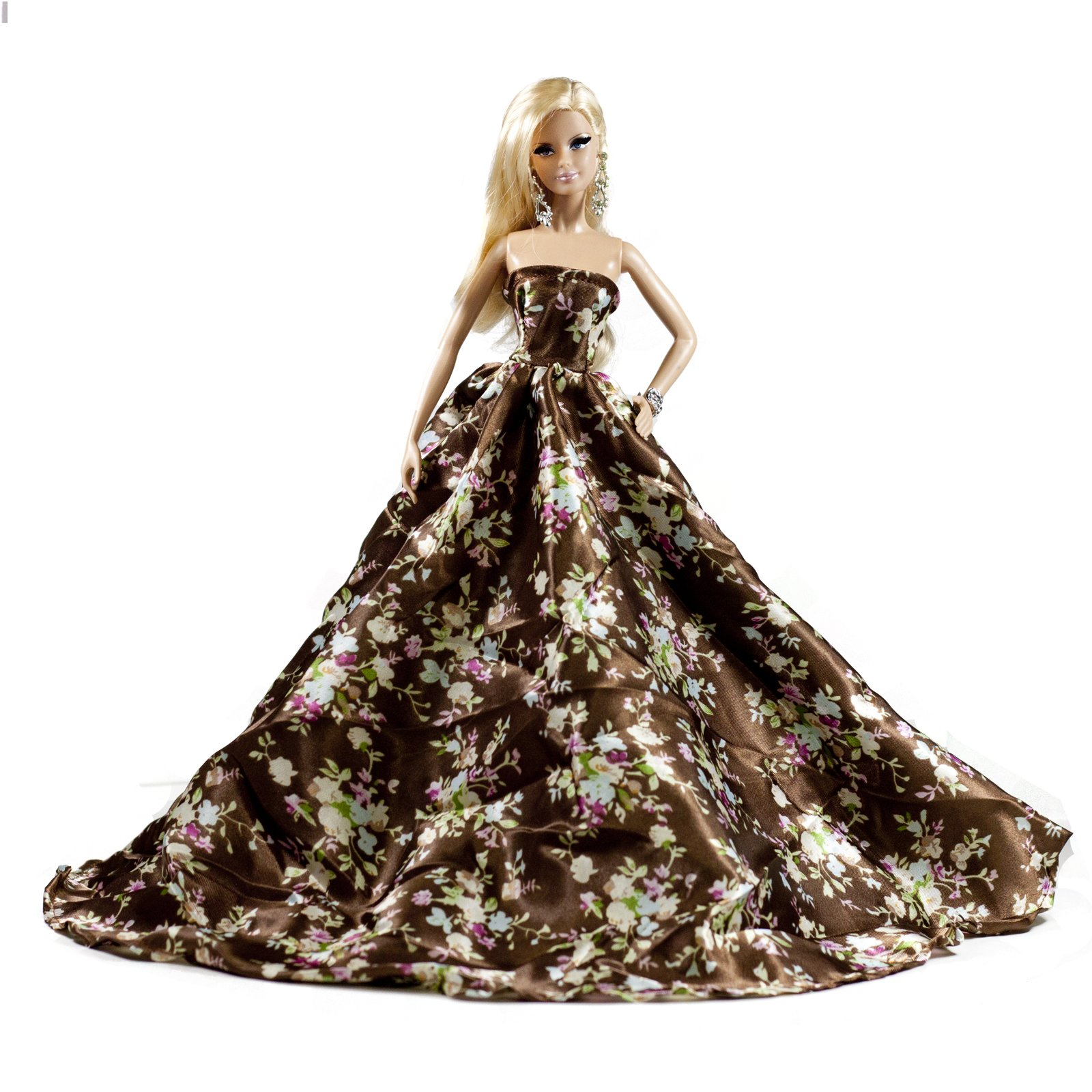 Peregrine Silk Satin Zebra Print Strapless Fit and Flare Floor Length Fishtail Gown for 11.5 inches Dolls
