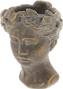"Lucky Winner Greek/Roman Style Female Statue Head Cement Planter (8"")"