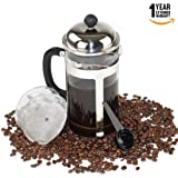 Stainless Steel French Press Coffee & Tea Maker With Bonuses 2 Stainless Steel Filters and plastic coffee spoon.