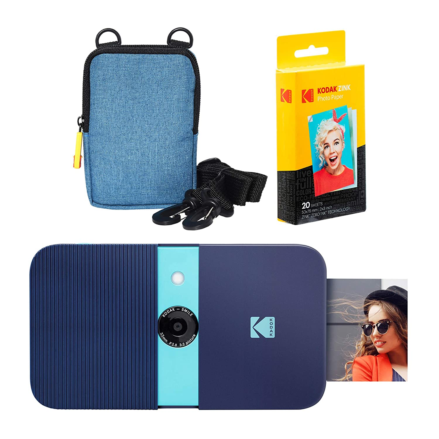 KODAK Smile Impresora Digital instantánea (Azul) Soft Case Kit ...