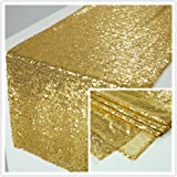 Zdada 12x72-Inch Rectangle-Gold-Sequin Table Runner for Wedding/Home/Christmas/New Year Eve/Dinning Room Decoration