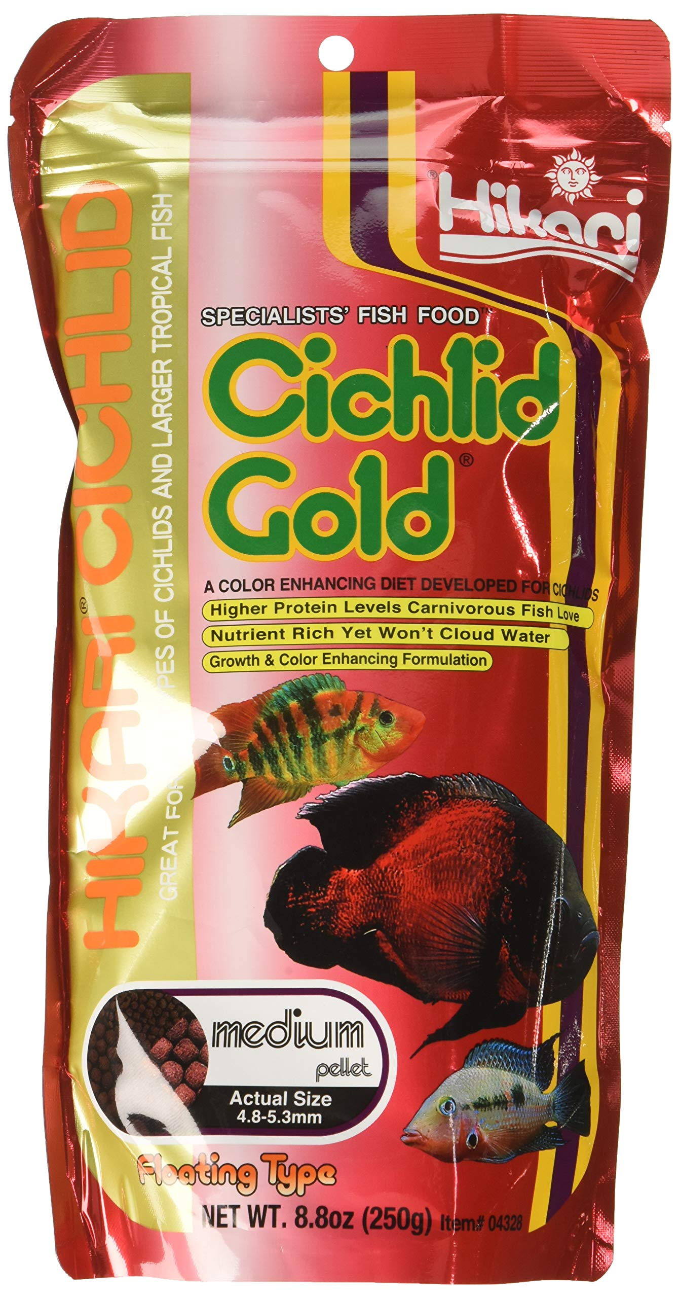 Hikari (3 Pack) 8.8-Ounce Cichlid Gold Floating Pellets for Pets, Medium by Hikari