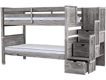 7197dfe80c74d8 Image Unavailable. Image not available for. Color: Bedz King Stairway Bunk  Beds Twin over Twin with 3 Drawers in the Steps ...