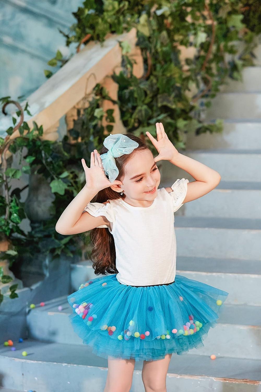 Buenos Ninos Little Girls 8-Layers Short Ballet Tulle Skirt Fluffy Dress-up Tutu with Pom Pom Puff Balls for 1-6T