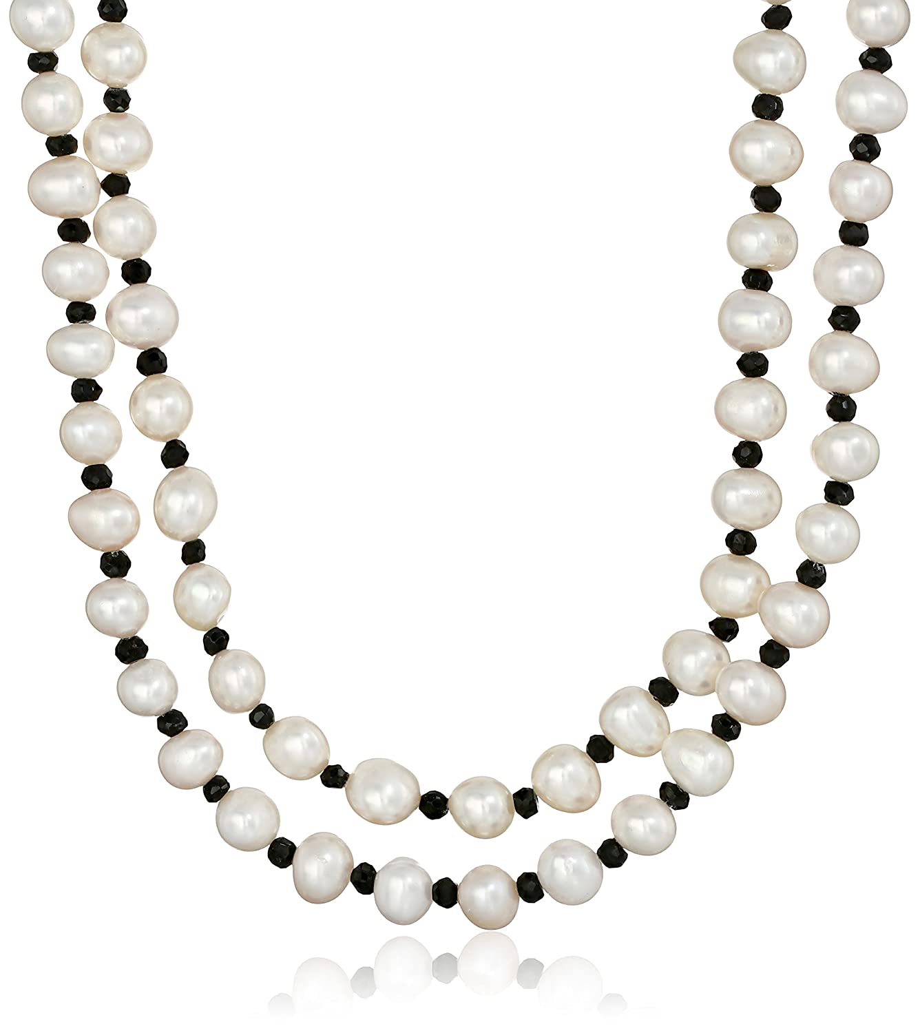 7-7.5mm White Cultured Freshwater Pearl with 4-5mm Gemstone Endless Strand Necklace, 50 50 Amazon Collection ND710-15-01