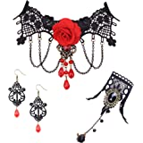 FUNRUN JEWELRY Black Lace Necklace Bracelet Earring Set for Women Halloween Jewelry Set Vintage Gothic Lolita Jewelry for Party Wedding
