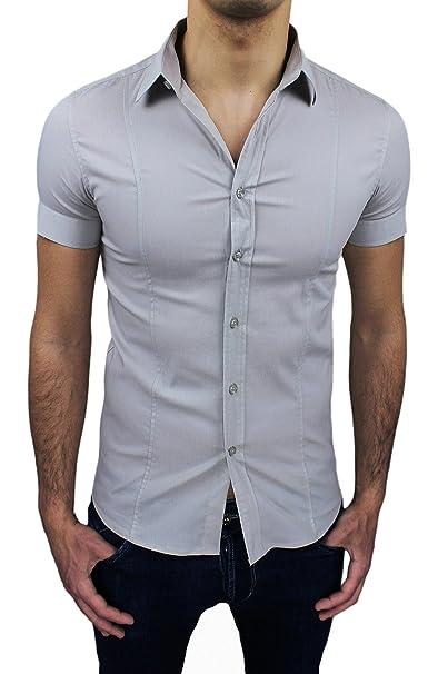 50602f20ad AK collezioni Camicia Uomo Maniche Corte Grigio Chiaro Slim Fit Aderente  Elasticizzata Casual (S)