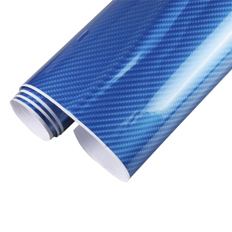 MRCARTOOL Adesivo per auto in vinile avvolgente in fibra di carbonio avvolgente 5D Adesivo per auto autoadesivo in rotolo con avvolgente foglio 5D Black 4.9ftx1.6ft