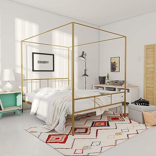 Amazon Com Novogratz Marion Canopy Bed Frame Gold Queen