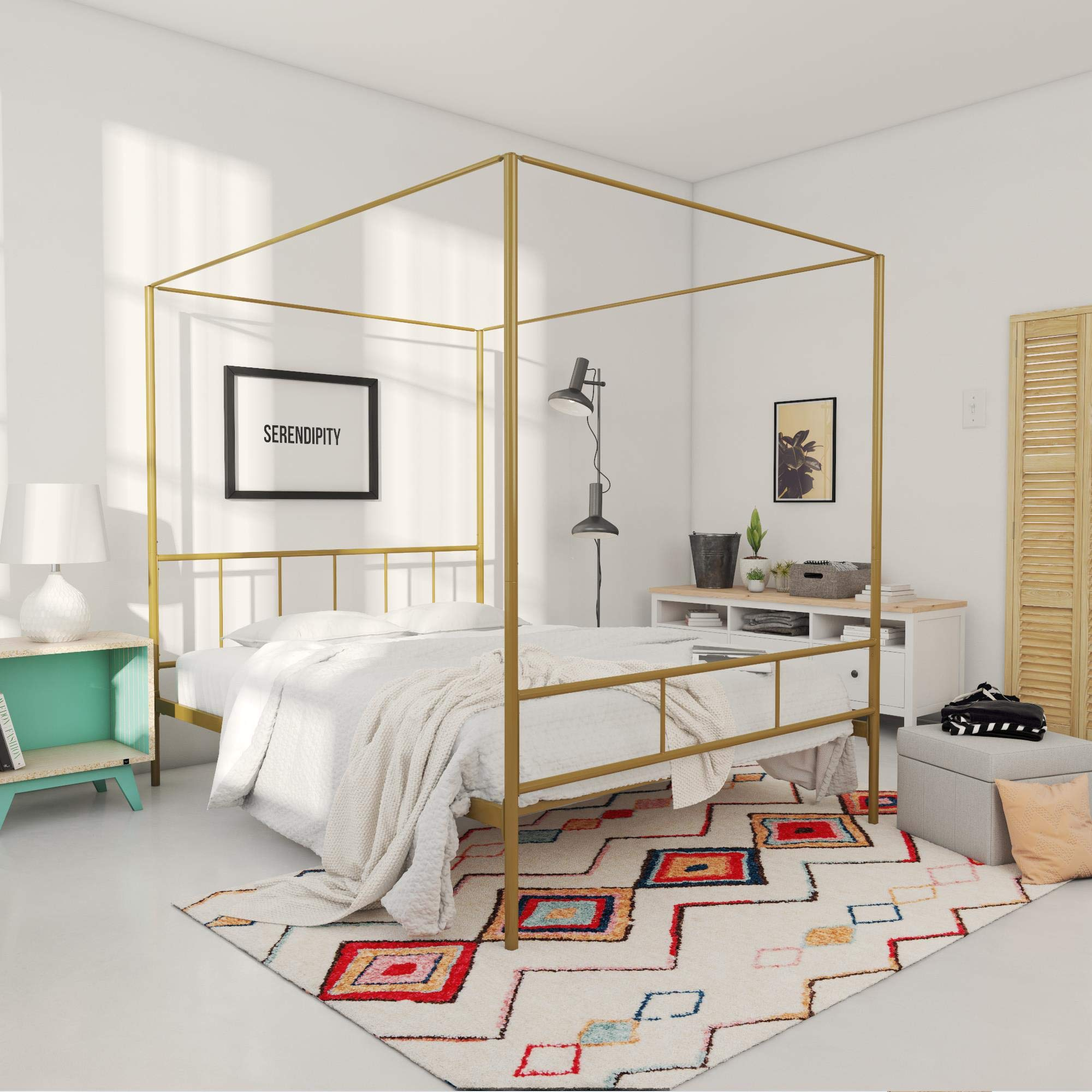 Novogratz Marion Canopy Bed Frame, Gold, Full by Novogratz