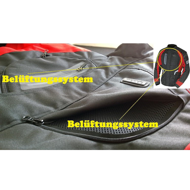 Sommer Winter Motorrad Roller Jacke Protektorenjacke Textil Herren/Wasserdicht mit/Protektoren Schwarz-Neon-Gr/ün-Gelb Spark XL Motorradjacke