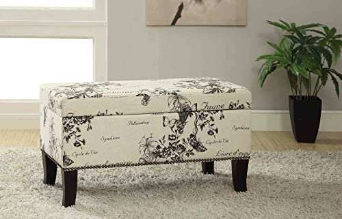 Storage Ottoman Bench Linen Trunk Footsool Seating Chair Black Finish Legs Beige
