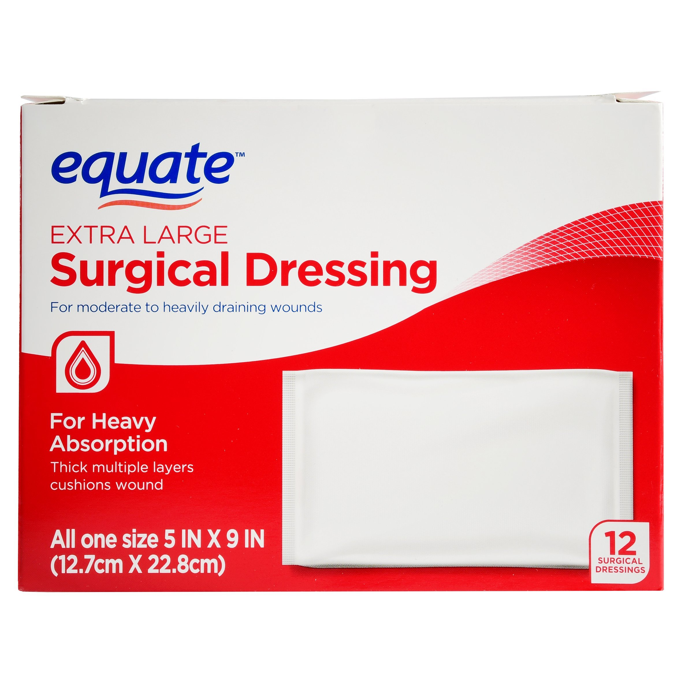 Equate Surgical Dressing, XL, 5''x9'', 12 Ct by Equate