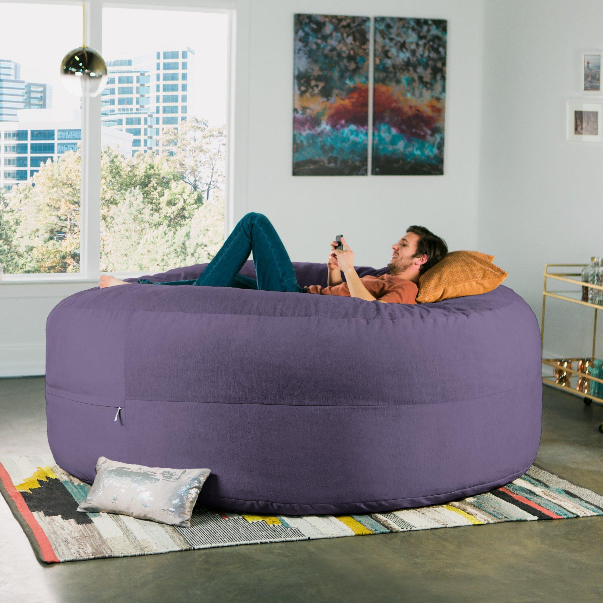 Jaxx Cocoon 8 Foot Huge Sleeper Bean Bag Bed - Chenille, Plum by Jaxx (Image #3)