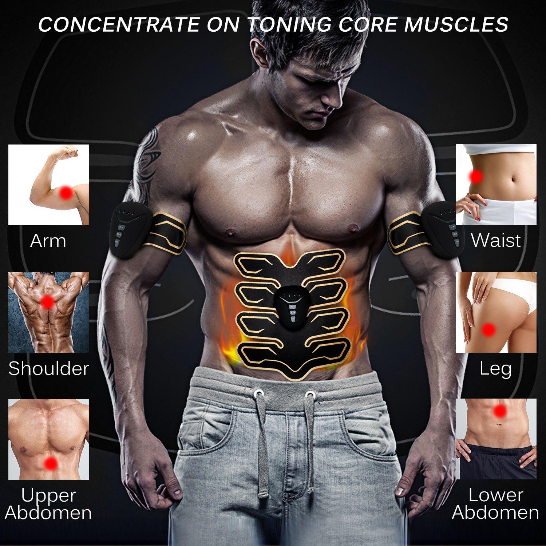 NOWKIN Electroestimulador Muscular Abdominales,Estimulador Muscular,EMS Electroestimulador,EMS Trainer,Eléctrico Muscular Entrenador,Enviar 2 Gel Hojas ...