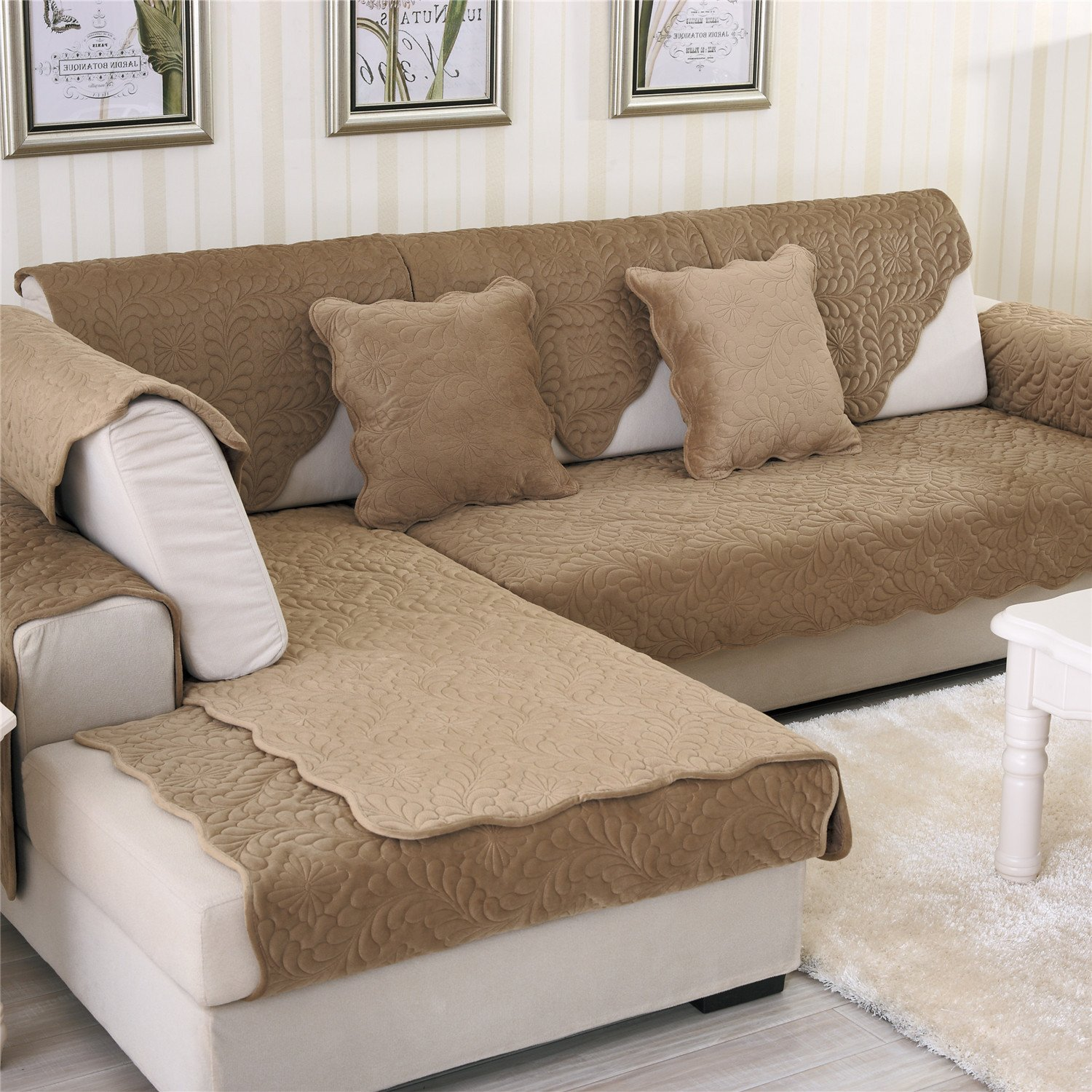 OstepDecor Soft Petris Quilted Sofa Furniture Protector Couch SlipCover for Pet Dog Children Kids   Backrest and Armrest Sold Separately   Coffee 36'' x 71'' (90 x 180cm)