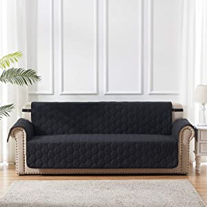 SunStyle Home Black Furniture Protector Sofa Slipcovers 1 - Piece with Adjustable Elastic Strap and Non-Slip Backing Honeycomb Quilted Couch Cover for Kids Dogs Pets