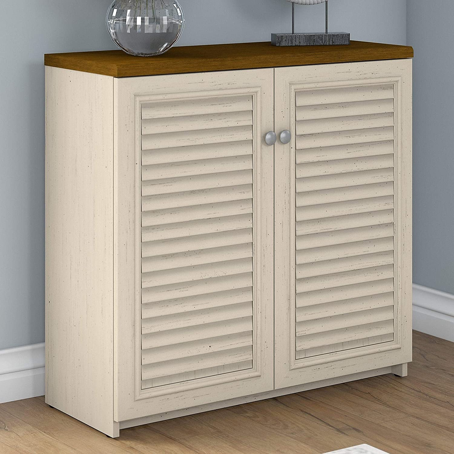 Amazon Com 2 Door Storage Cabinet In Antique White And Tea Maple 30 7 In Cream Cabin Lodge Mdf Modular Kitchen Dining