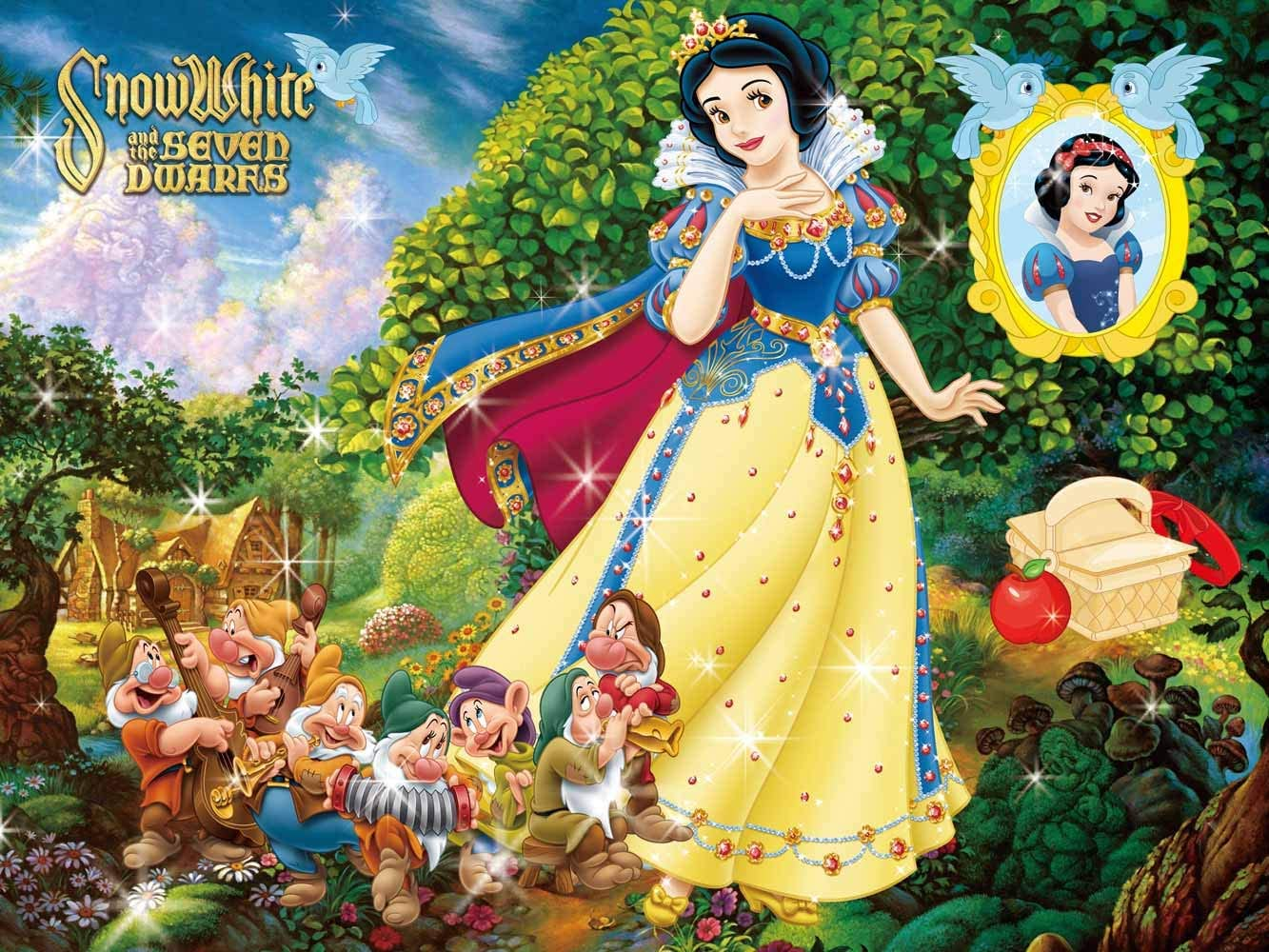 Snow White Princess Backdrop Poster Seven Dwarfs with Castle Fairy Tale Story Background for Birthday Party Table Top Banner Baby Shower Backgrounds Backdrop for Girls Disney Party Supplies Cake Table
