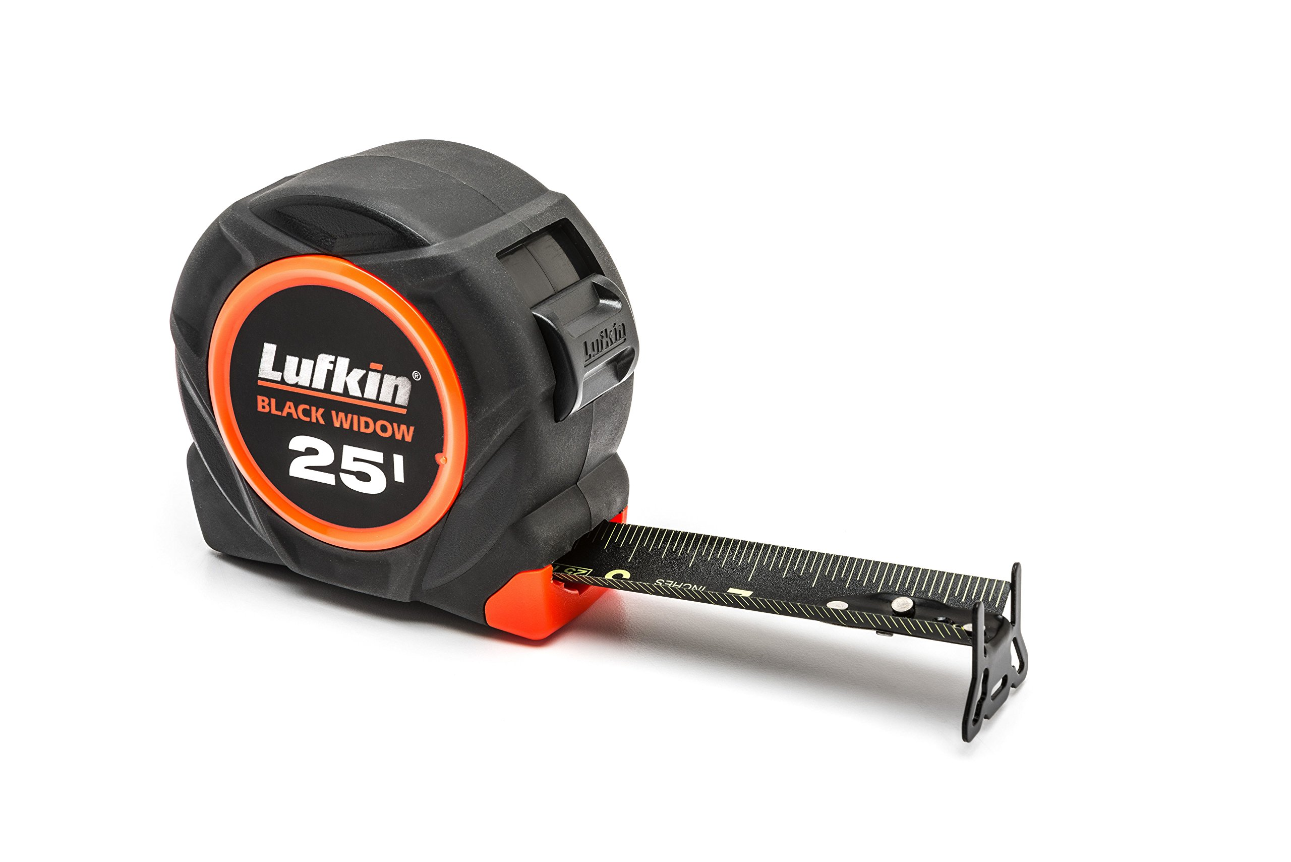 Lufkin L1025B Black Widow 25' Tape Measure Low Glare Matte Finish Hi-Visibility Blade Markings