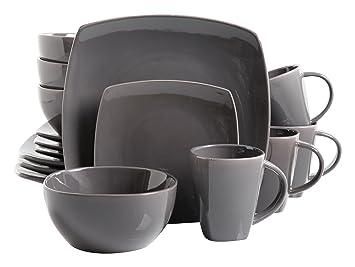 gibson soho lounge 16piece square reactive glaze dinnerware set grey