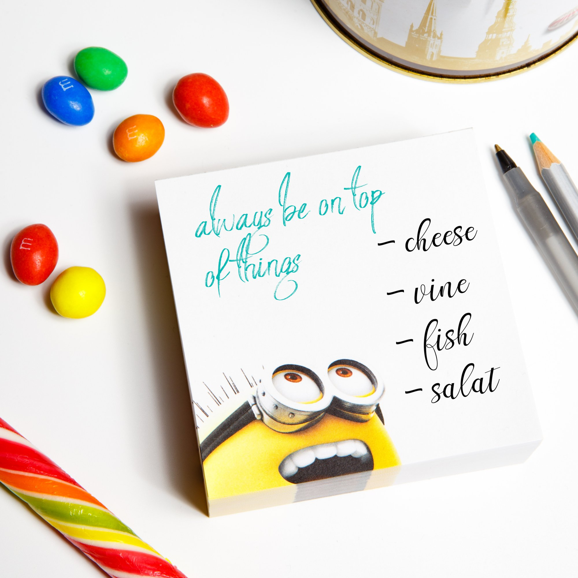 Minions - Despicable Me - Memo Note Paper Pad 3.5 x 3.5 inches (90 x 90 mm) - Paper Cube - Great for Writing Notes, Messages, Reminders - 300 white tear-off pages NOT STICKY- Must Have on Every Desk