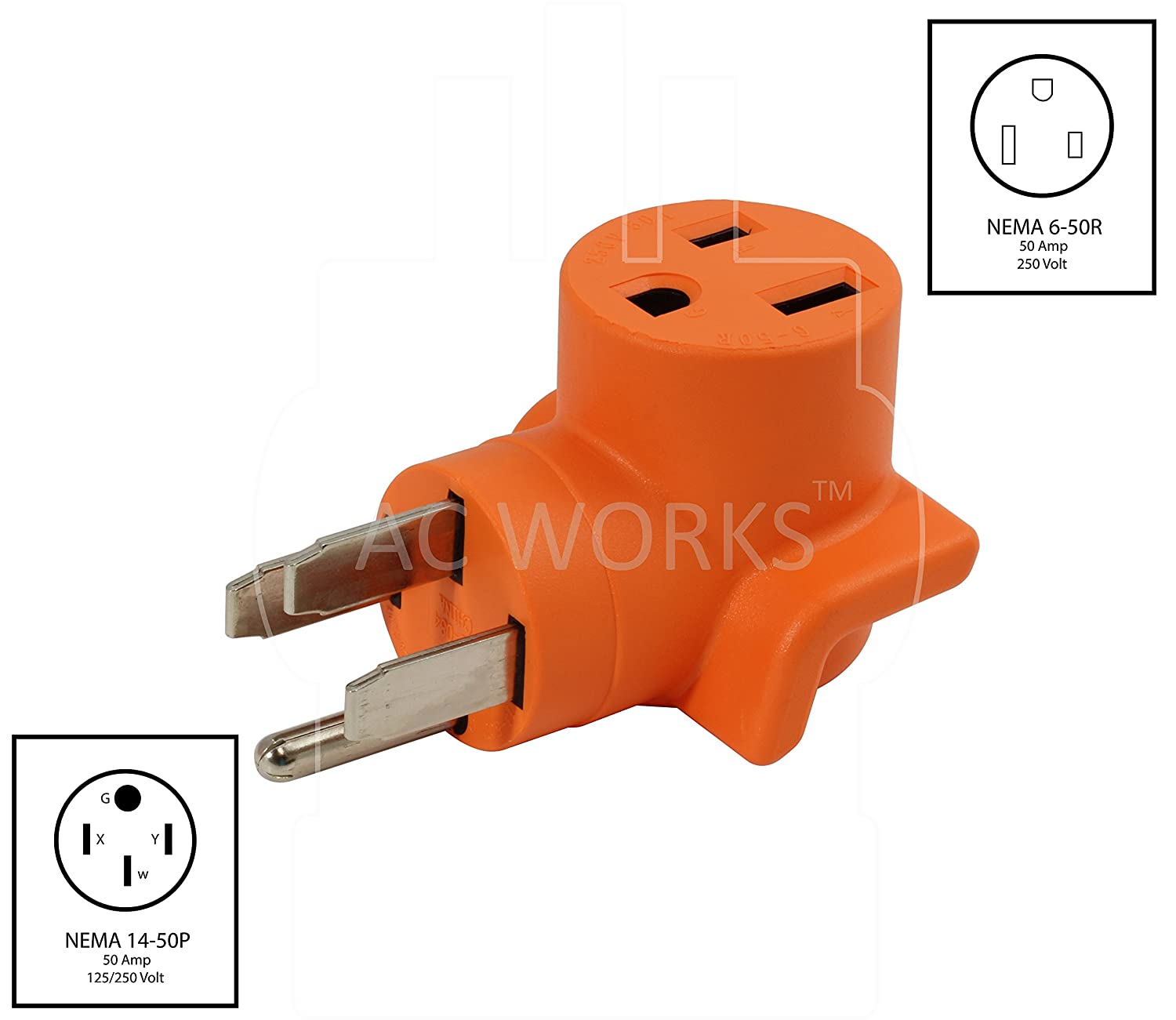 AC WORKS [WD1450650] 50Amp RV/ Range/ Generator 14-50 Plug to 6-50R 50Amp  250V Welder adapter - - Amazon.com