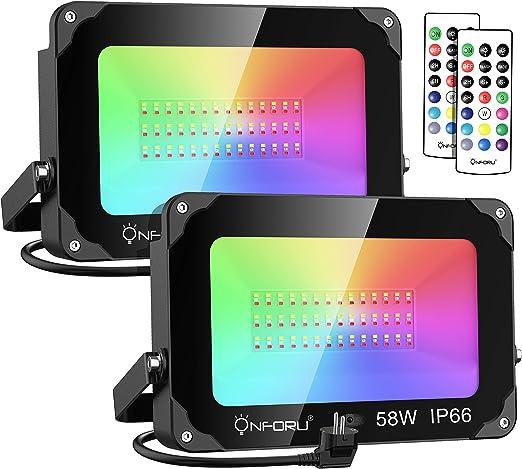 Onforu Foco RGB Led 58w (2 Pack), Foco Colores con Control Remoto ...