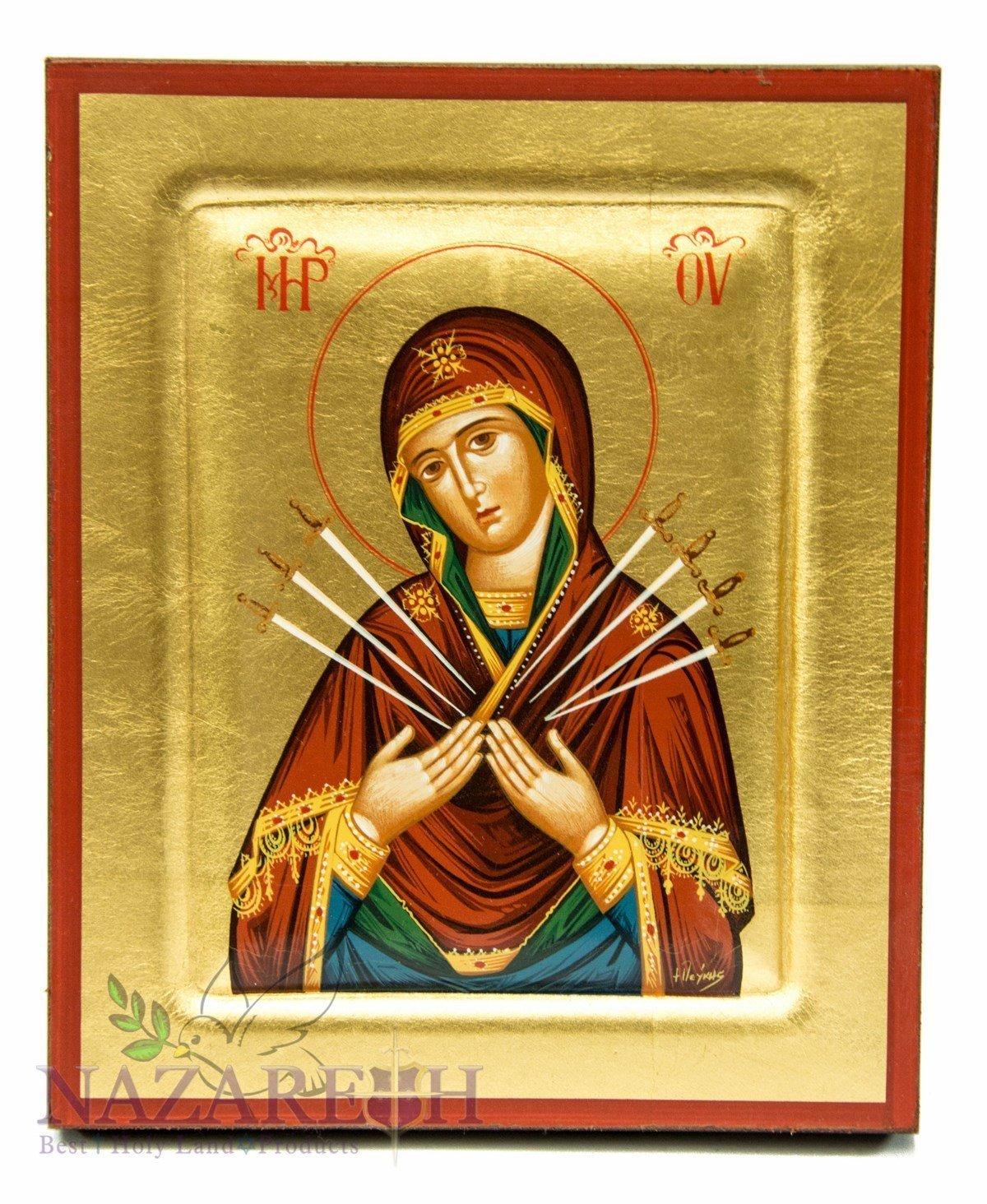 Virgin Mary of Seven Swords Byzantine Wood Icon Handmade Christian Plaque 6.7''