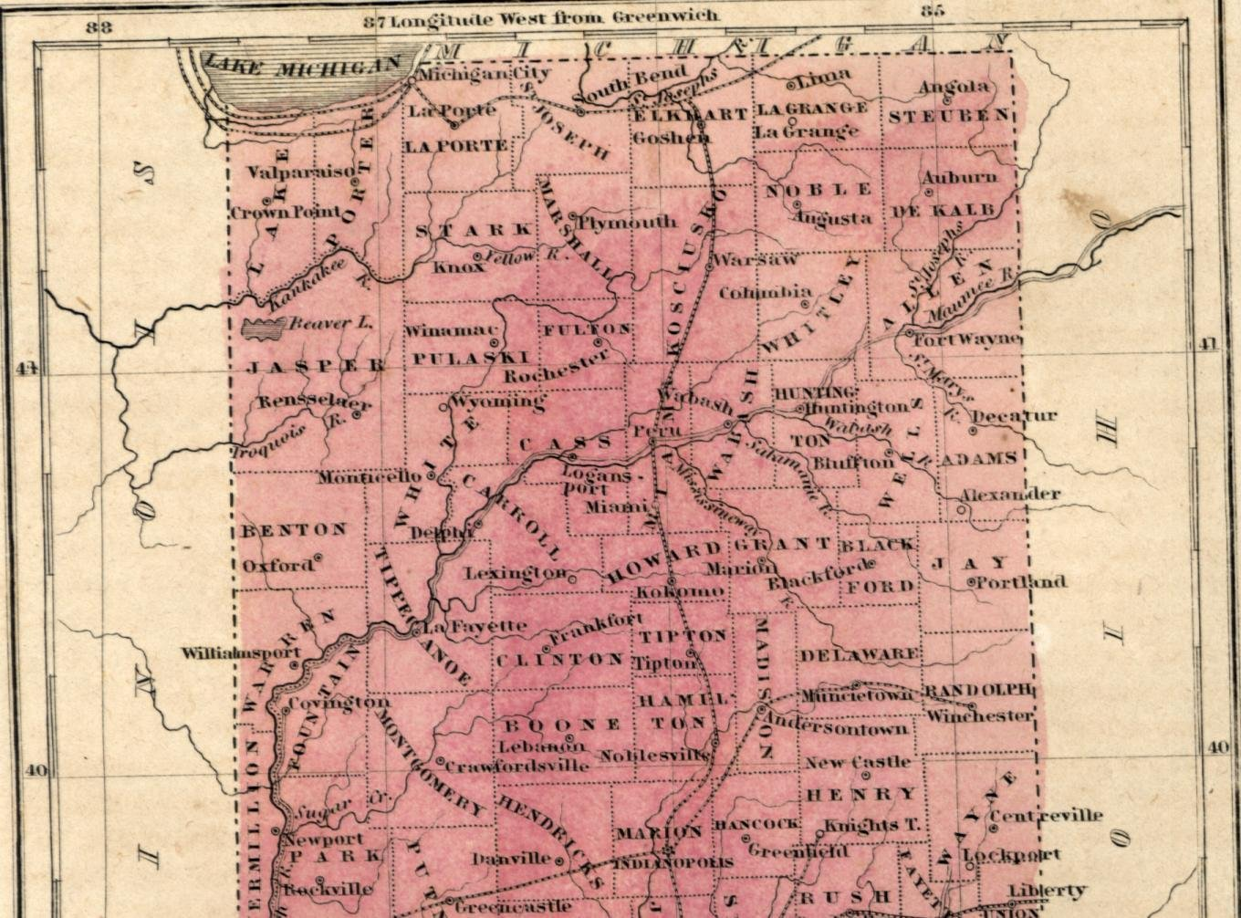 Indiana State Map With Cities And Towns.Amazon Com Indiana Counties Towns Roads Indianapolis 1856 Boynton