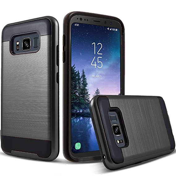 release date 9042d 03a11 Circlemalls 2-Piece Style Hybrid Shockproof Protective Phone Cases Cover  Compatible For [Samsung Galaxy S8 Active], With [Premium Screen Protector]  ...
