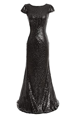 Aiyana Black Mermaid Long Bridesmaid Dresses Sequins Wedding Party Gown