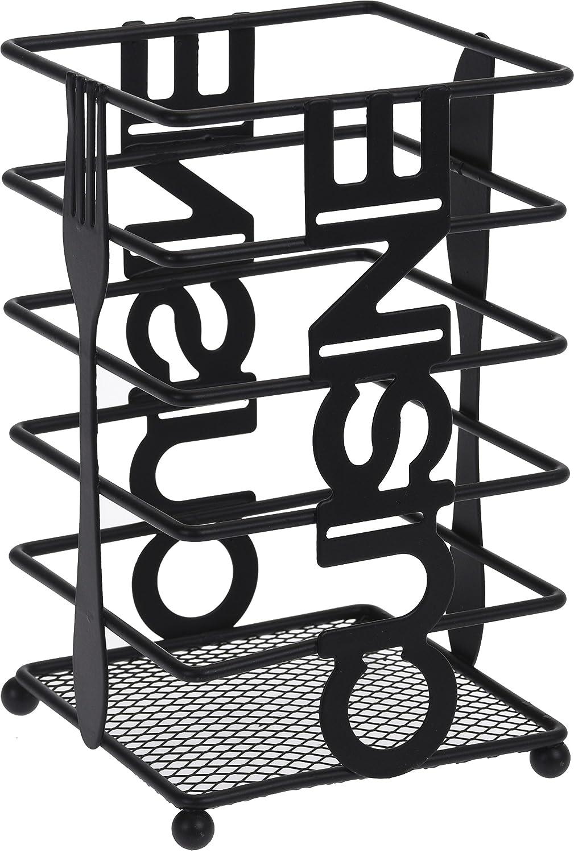 Cuisine Black Metal Cutlery Utensil Holder Organiser Storage Caddy Pot Basket Excellent Houseware