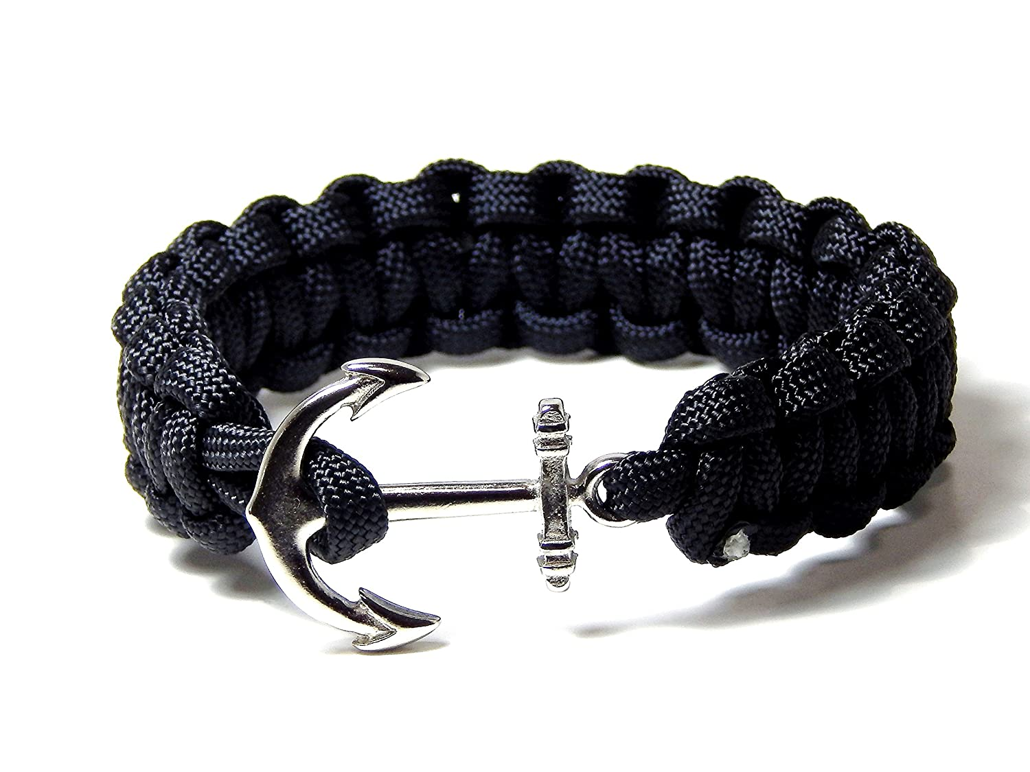 Anchor Bracelet Nautical Black Paracord Cobra Weave Silver Tone Anchor 9 Inch