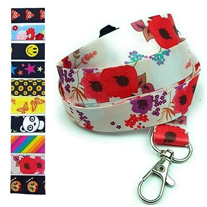 Correa para el cuello de SpiriuS para teléfono móvil, llaves, tarjetas de identificación, color poppies in white