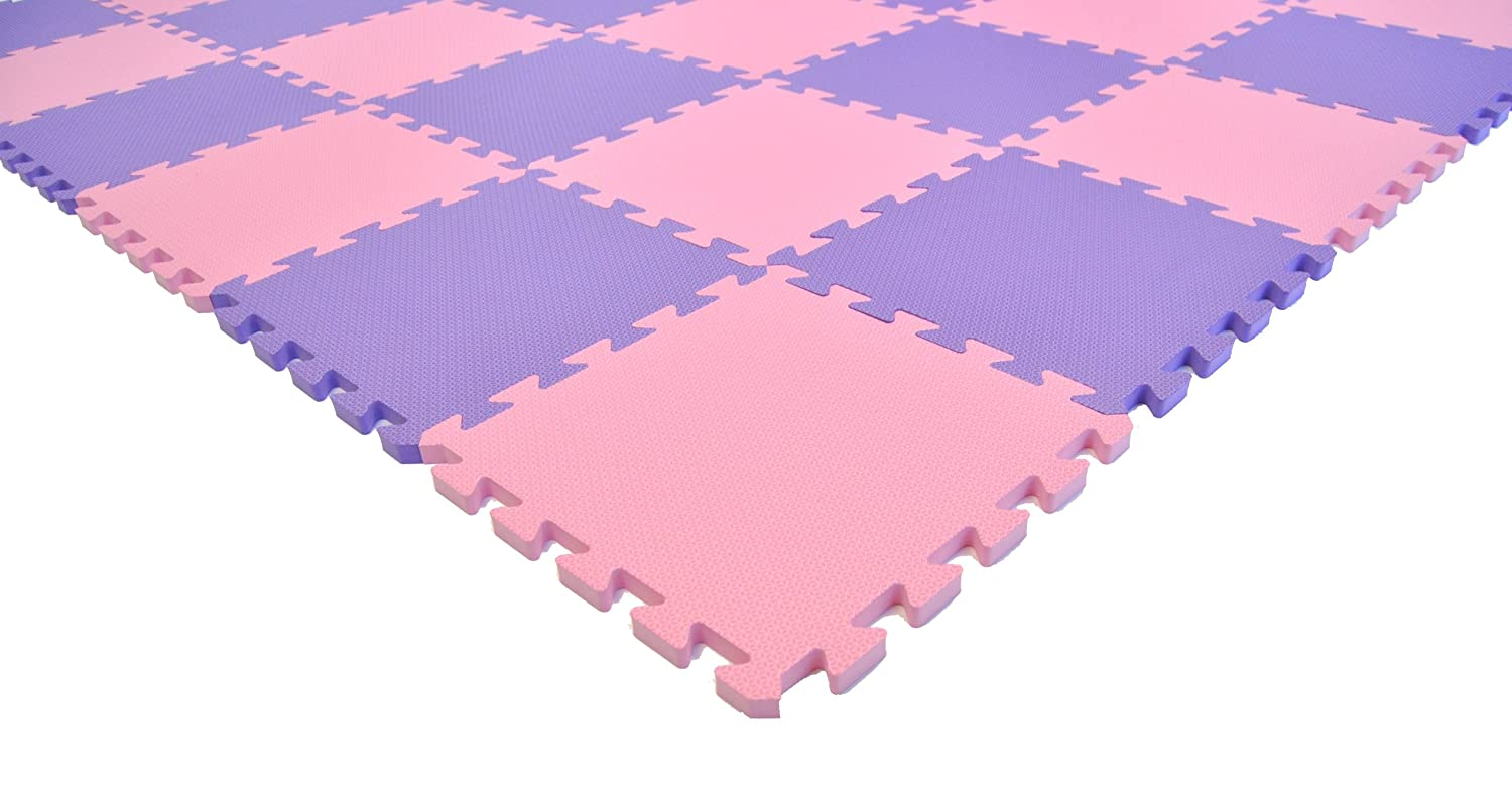 Non-Toxic Fairy Tale Pink Purple Interlocking Non-Recycled Quality Waterproof Foam Anti-Fatigue Wonder Mats 36 Pieces at 12 X 12 X 9 16 Extra Thick