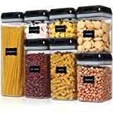 Airtight Food Storage Containers, Vtopmart 7 Pieces BPA Free Plastic Cereal Containers with Easy Lock Lids, for Kitchen Pantr