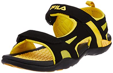 1eadb8d41427 Fila Men s Energy Black and Yellow Sandals and Floaters -9 UK India ...
