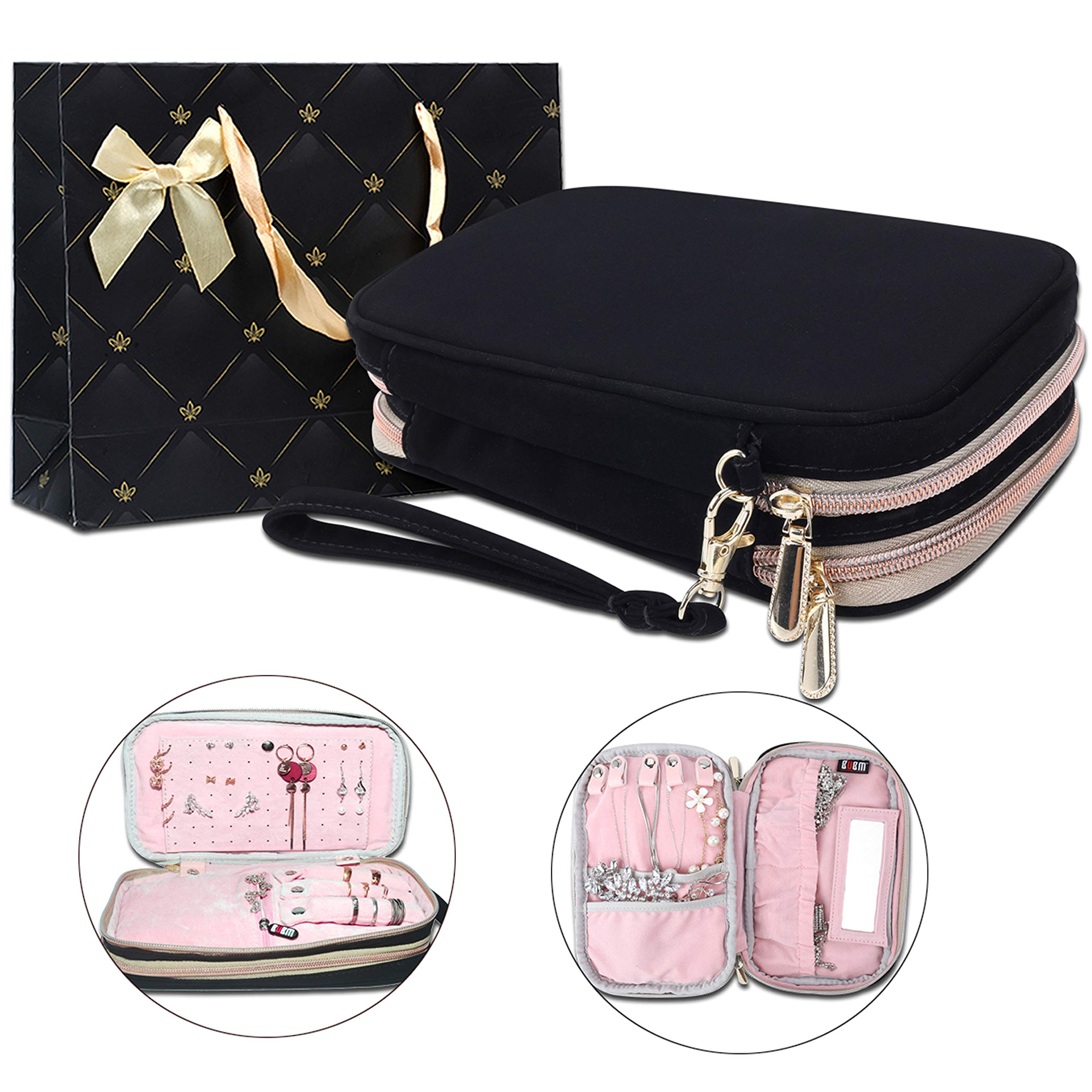 BUBM Double Layer Travel Jewelry Organizer Storage Case Box Handbag for Earrings Necklaces Ring Gift Pack