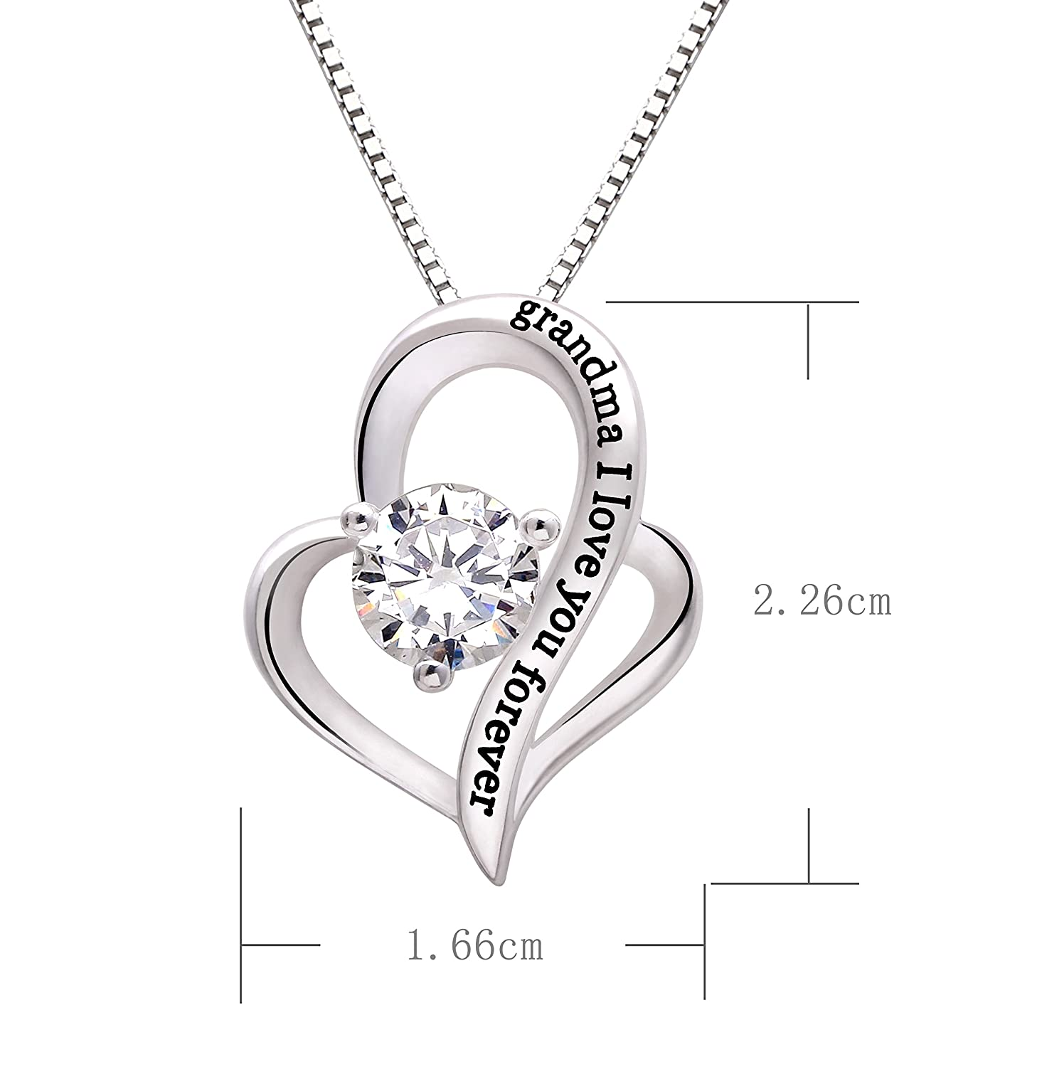 ALOV Jewelry Sterling Silver Grandma I Love You Forever Love Heart Cubic Zirconia Pendant Necklace