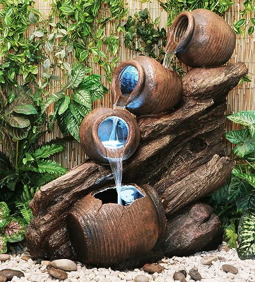 Primrose Fuente Cántaros de Agua sobre Madera - Luces LED - Altura ...