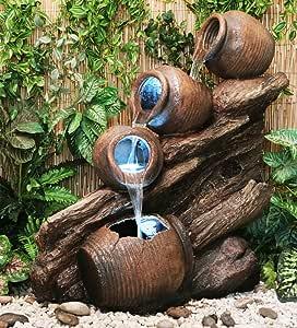 Primrose Fuente Cántaros de Agua sobre Madera - Luces LED - Altura 80cm: Amazon.es: Hogar
