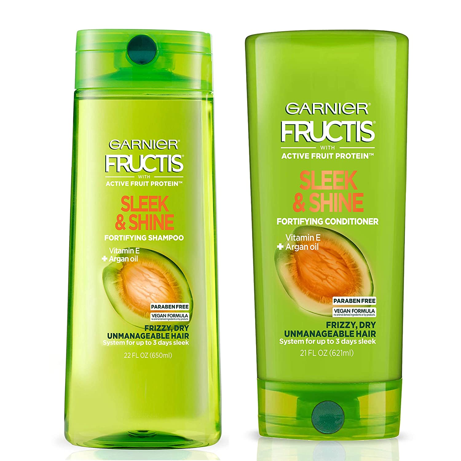 Garnier Hair Care Fructis Sleek & Shine Shampoo and Conditioner, For Frizzy, Dry Hair, Made with Argan Oil from Morocco, Paraben Free Formulas 43 Fl Oz