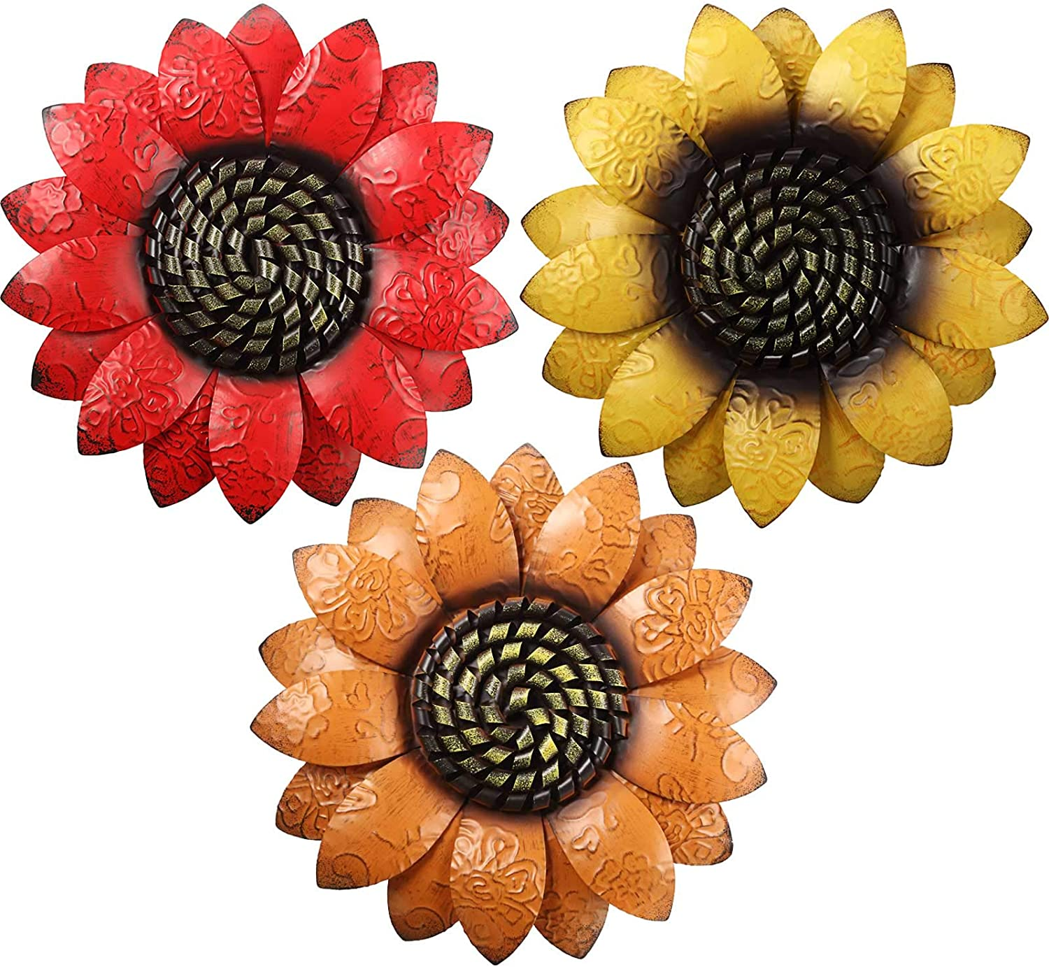 3 Pieces 13 Inch Metal Sunflower Wall Decor 3D Flower Wall Art Hanging Decoration for Bedroom Living Room Office Garden Indoor Outdoor Boho Home Decor, 3 Colors