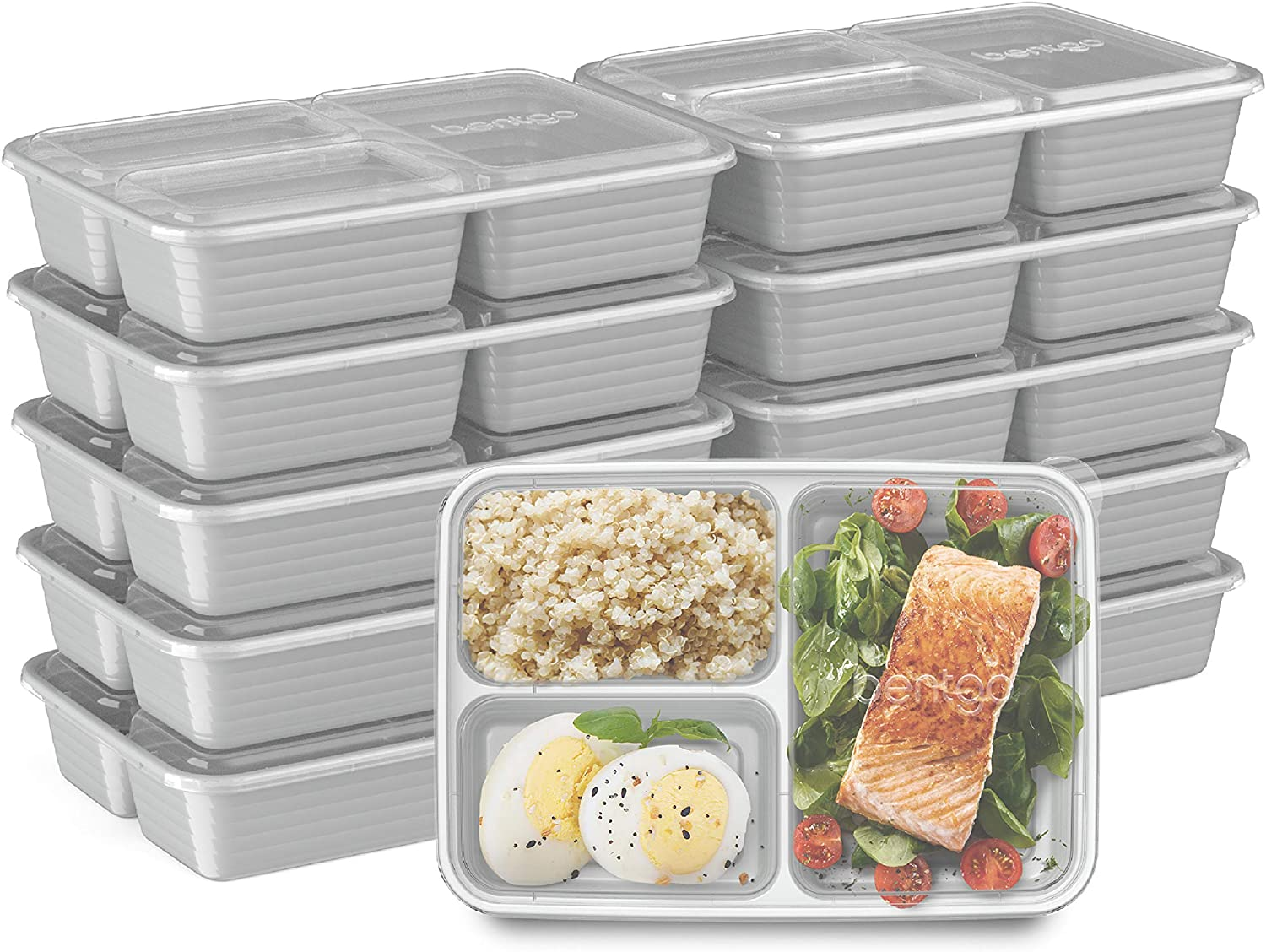 Bentgo Prep 3-Compartment Meal-Prep Containers with Custom-Fit Lids - Microwaveable, Durable, Reusable, BPA-Free, Freezer and Dishwasher Safe Food Storage Containers - 10 Trays & 10 Lids (Silver)