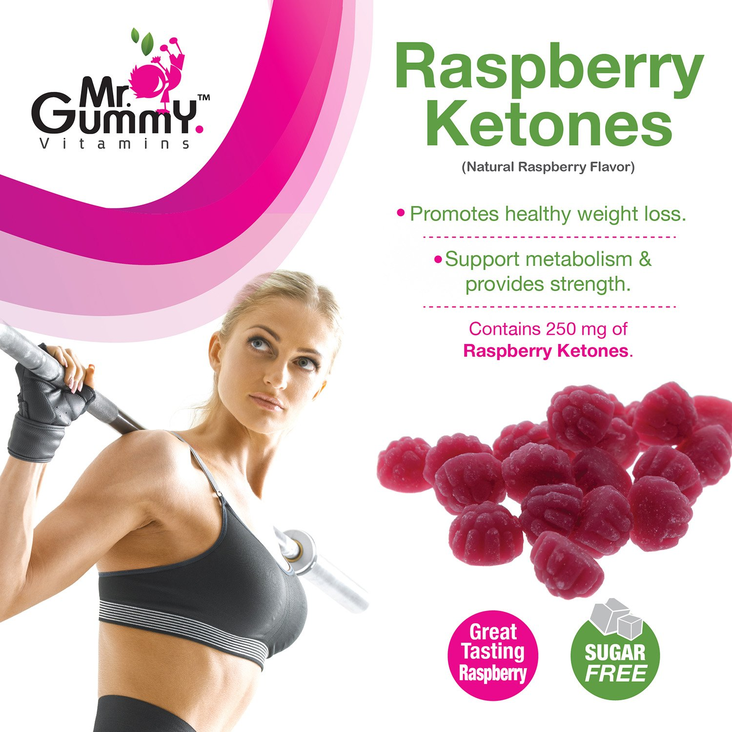 Mr Gummy Vitamins Raspberry Ketones Sugar Free Dietary Ketogenic Supplement | Promotes Healthy Weight Loss, Supports Metabolism & Provides Strength | [100 Gummies, 50-Day Supply] | for Men and Women by Mr. Gummy (Image #2)